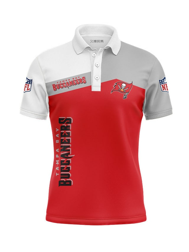 Men's Golf Shirt Skull Flag Letter Button-Down Print Short Sleeve Casual Tops Casual Fashion Cool Breathable Red
