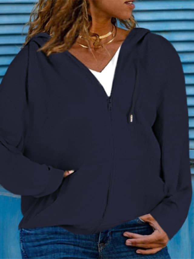 Women's Plus Size Jacket Pocket Plain Causal Vacation Long Sleeve Hoodie Regular Fall Winter Blue Purple Wine L XL XXL 3XL 4XL