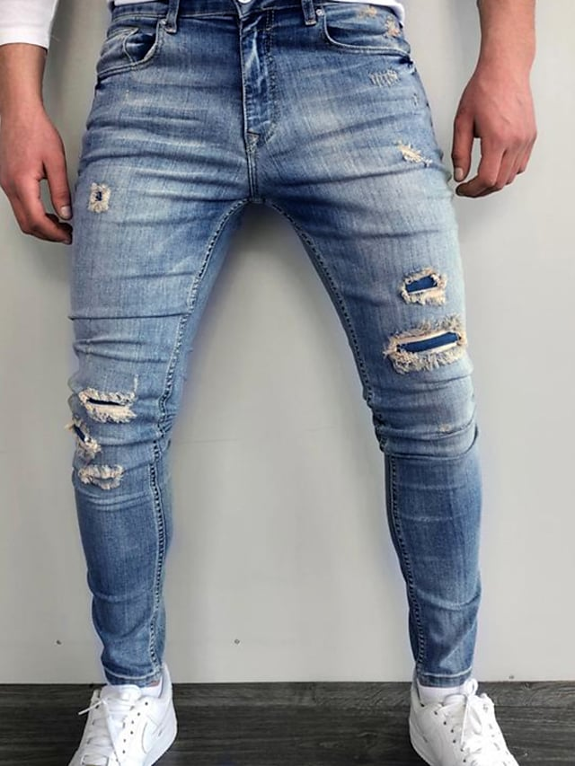 Men's Stylish Casual Streetwear Comfort Outdoor Pants Jeans Casual Daily Pants Print Full Length Pocket Hole Blue