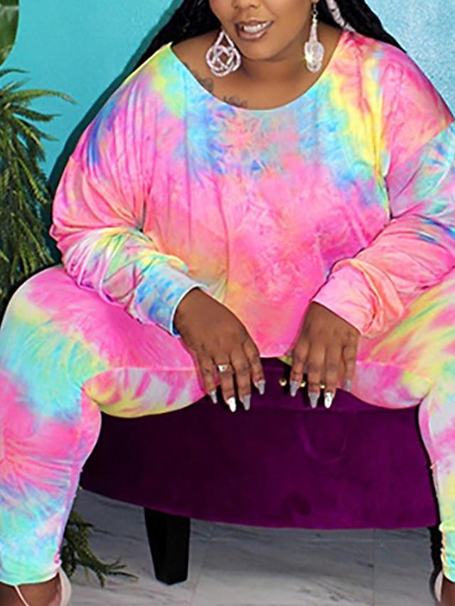 Women's Plus Size Tops Blouse Set Tie Dye Print Long Sleeve Crewneck Streetwear Daily Weekend Spandex Fall Purple Blushing Pink