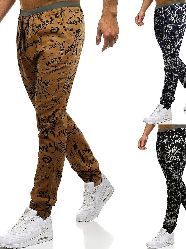 Men's Casual Sports Sports Pants Sweatpants Casual Daily Pants Graphic Letter Full Length Print Yellow Black Navy Blue