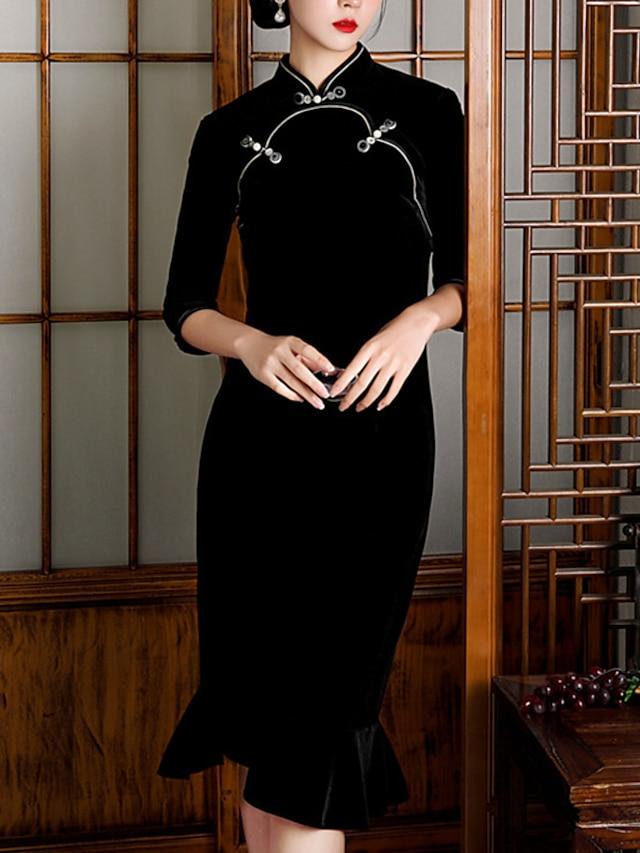 Mermaid / Trumpet Mother of the Bride Dress Elegant Vintage High Neck Knee Length Velvet 3/4 Length Sleeve with Buttons 2021