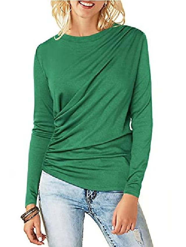 womens fall clothes work tops t shirt green shirts for women trendy dressy x-large green