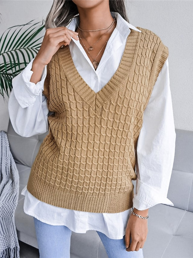 Women's Vest Sweater Knitted Solid Color Stylish Casual Soft Sleeveless Sweater Cardigans V Neck Fall Winter Blue Blushing Pink Khaki