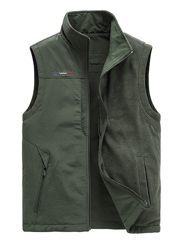 Men's Vest Gilet Street Daily Going out Fall Spring Regular Coat Regular Fit Windproof Breathable Sporty Casual Streetwear Jacket Sleeveless Solid Color Full Zip Pocket Blue Army Green Khaki