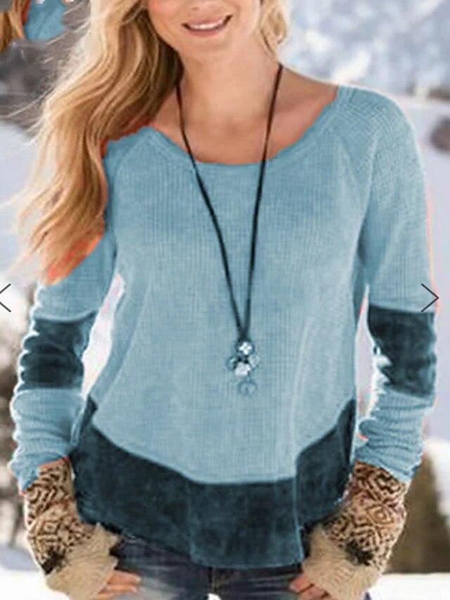 Women's T shirt Plain Patchwork Round Neck Basic Tops Blue Red