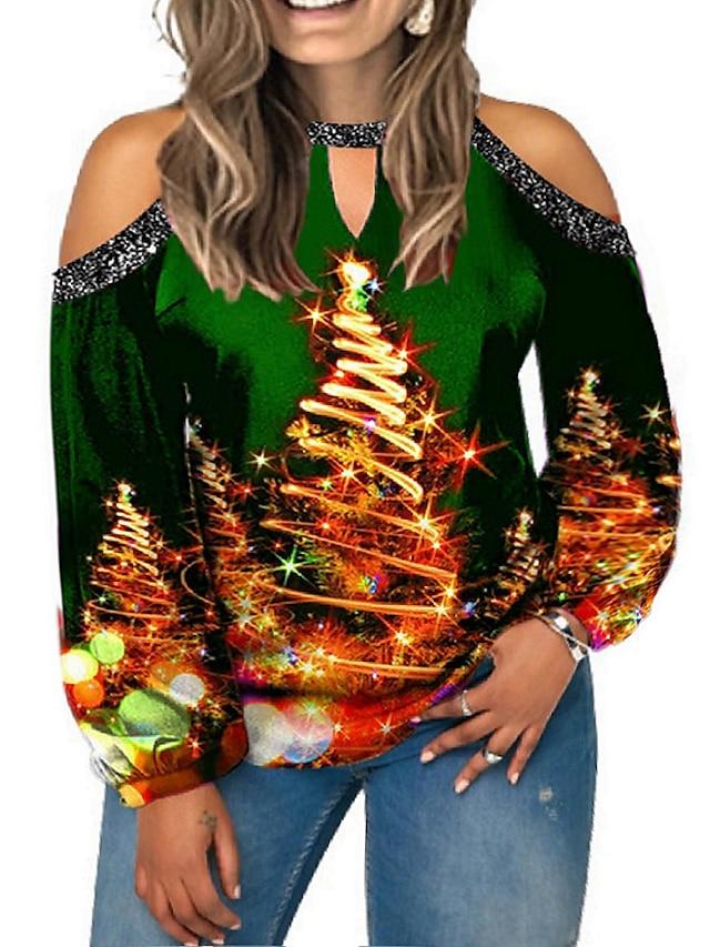 Women's Plus Size Tops T shirt Color Block Christmas Tree Long Sleeve Crewneck Christmas Christmas Spandex Autumn Blue Purple