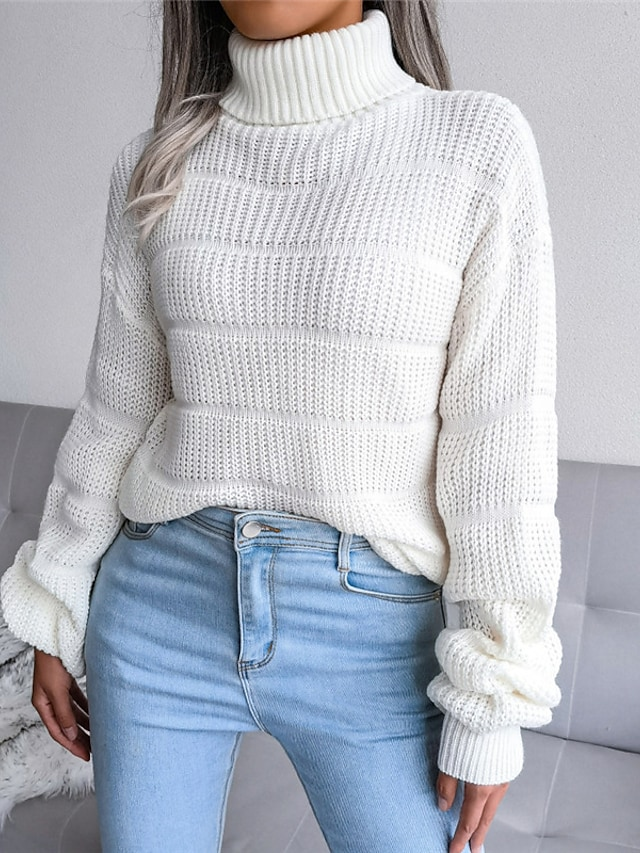 Women's Pullover Sweater Jumper Knitted Solid Color Stylish Casual Soft Long Sleeve Sweater Cardigans Turtleneck Fall Winter Blue Blushing Pink White