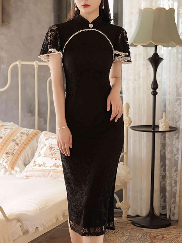 Sheath / Column Mother of the Bride Dress Elegant Vintage High Neck Knee Length Lace Short Sleeve with Split Front 2021