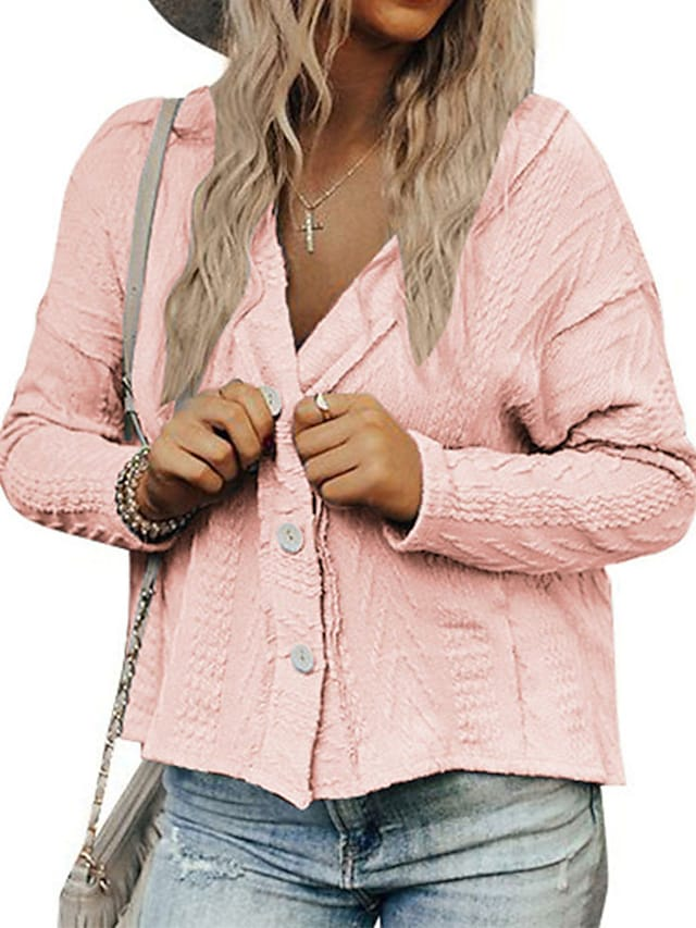 Women's Cardigan Sweater Knitted Button Solid Color Stylish Casual Soft Long Sleeve Sweater Cardigans V Neck Fall Winter Blue Blushing Pink Khaki