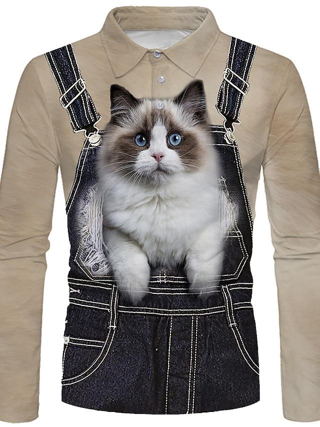 Men's Golf Shirt 3D Print Cat Animal 3D Print Button-Down Long Sleeve Street Tops Sportswear Casual Fashion Comfortable Blue Light Brown Gray