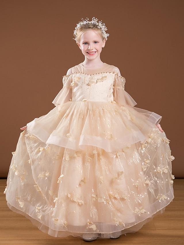 Princess Floor Length Flower Girl Dresses Party Organza Raglansleeve Jewel Neck with Beading