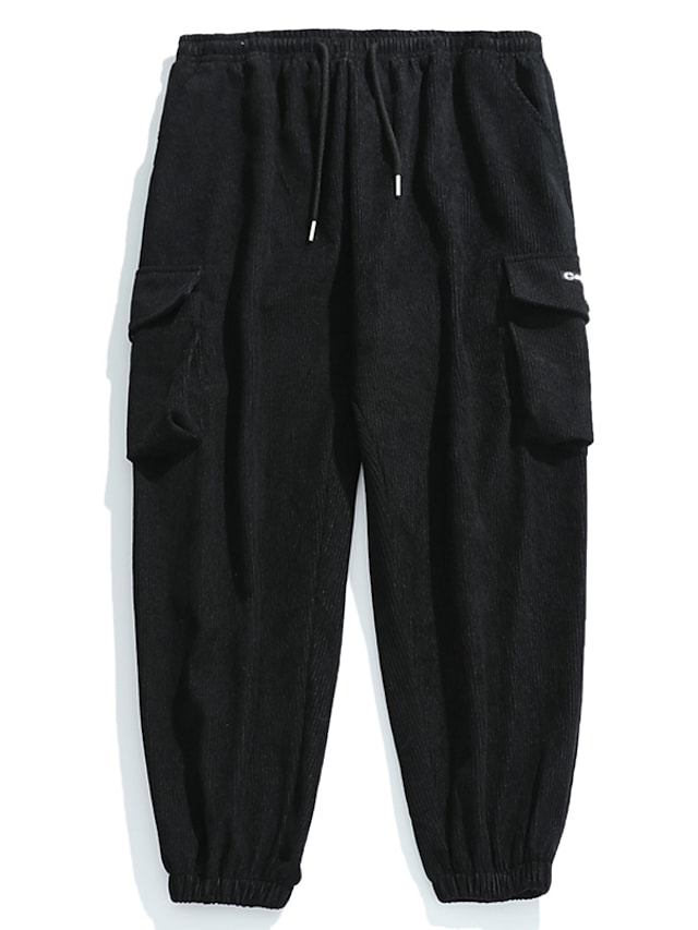 Men's Cargo Casual / Sporty Outdoor Sports Pants Chinos Casual Sports Pants Solid Colored Full Length Sporty Black Dark Gray