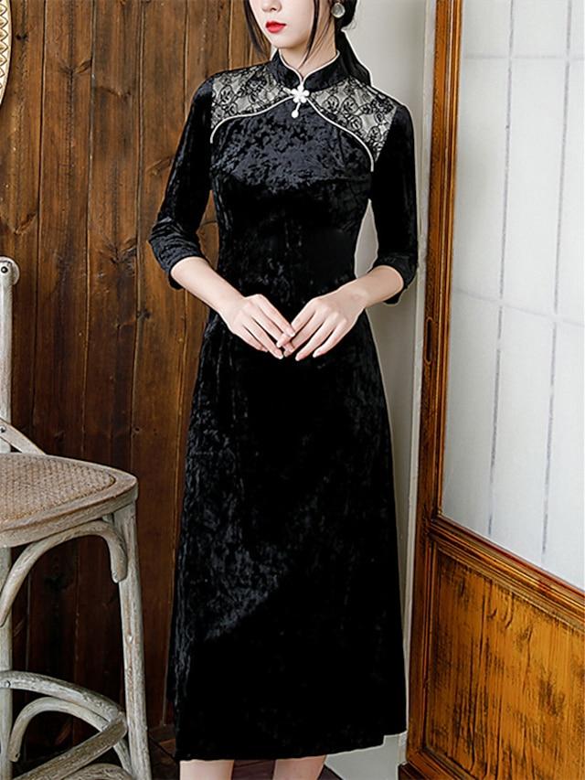 Sheath / Column Mother of the Bride Dress Elegant Vintage High Neck Tea Length Velvet 3/4 Length Sleeve with Buttons 2021