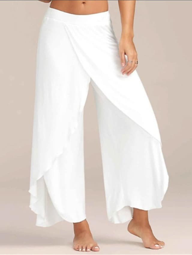 Women's Breathable Loungewear Bottom Home Street Airport Basic Elastic Waist Pure Color Polyester Simple Sport Pant Fall Summer Long Pant Not Specified