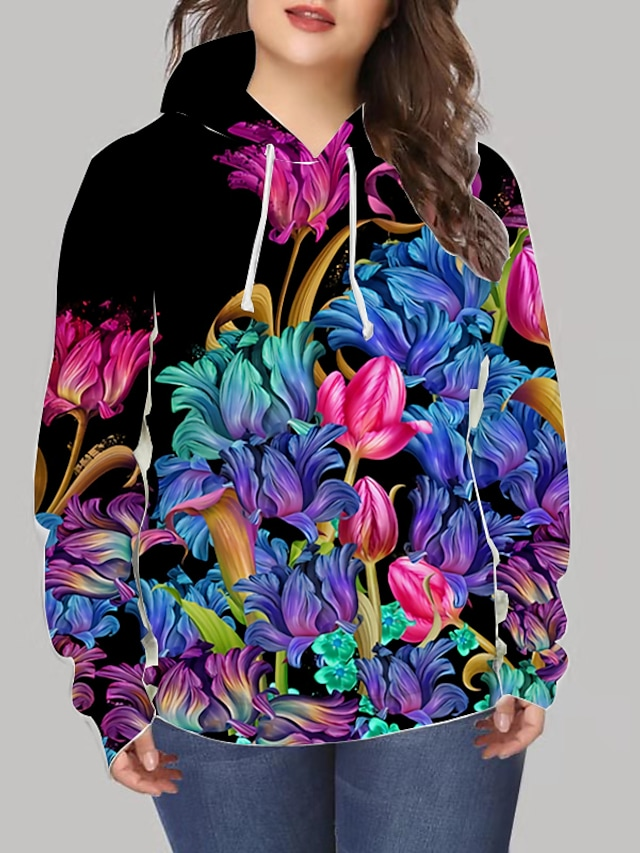 Women's Plus Size Tops Hoodie Sweatshirt Floral Graphic Print Long Sleeve V Neck Streetwear Daily Going out Spandex Winter Rainbow / 3D Print