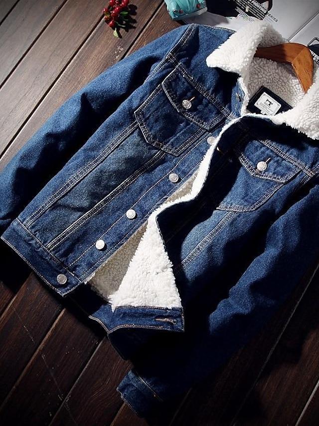 Men's Denim Jacket Street Sports Outdoor Causal Autumn / Fall Winter Regular Coat Regular Fit Warm Fashion Cool energy Jacket Long Sleeve Solid Color Pocket Light blue plus cashmere Deep Blue Plus