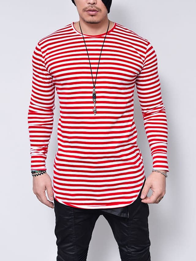 Men's T shirt Striped Long Sleeve Casual Tops Lightweight Fashion Slim Fit Big and Tall Blue Red