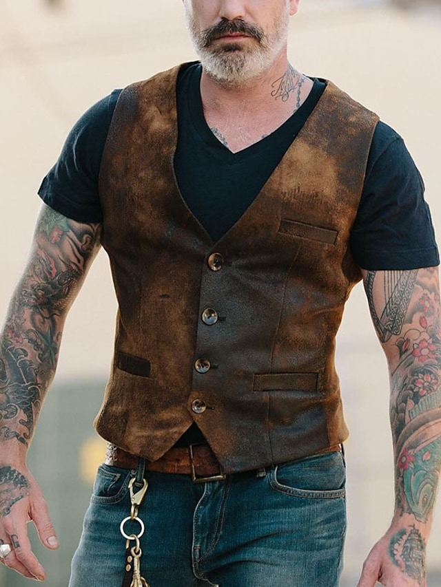 Men's Vest Gilet Party Daily Fall Winter Regular Coat Regular Fit Windproof Warm Streetwear Military Style Jacket Sleeveless Hot Stamping Plain Pocket Brown