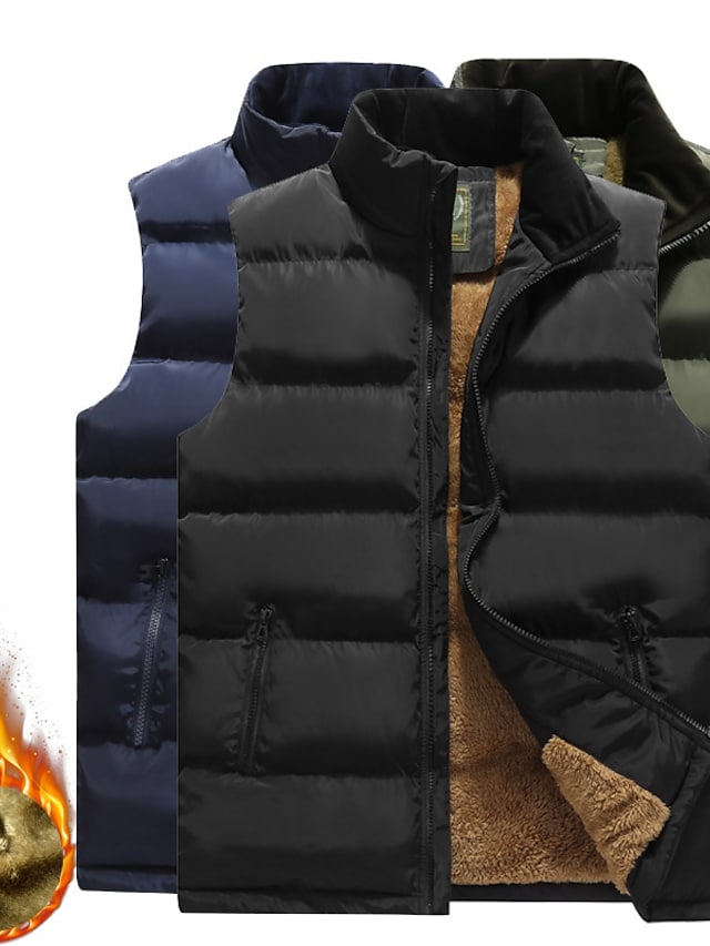 Men's Vest Gilet Street Daily Going out Fall Winter Regular Coat Regular Fit Windproof Warm Breathable Sporty Casual Streetwear Jacket Sleeveless Solid Color Full Zip Pocket Blue Army Green Black