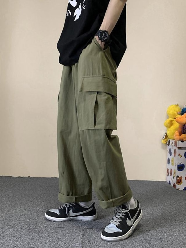 Men's Sports & Outdoors Streetwear Outdoor Sports Culottes Wide Leg Tactical Cargo Casual Daily Pants Solid Color Full Length Pocket ArmyGreen White Black