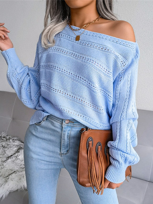 Women's Sweater Knitted Solid Color Stylish Casual Soft Long Sleeve Sweater Cardigans Off Shoulder Fall Winter Blue Gray Khaki