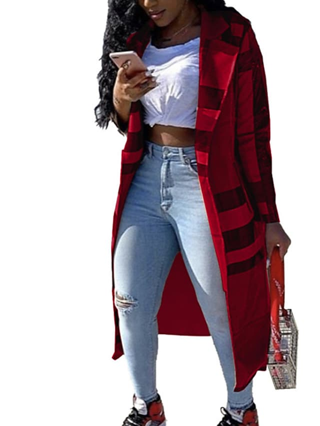 Women's Trench Coat Street Daily Going out Fall Winter Long Coat Regular Fit Breathable Casual Jacket Long Sleeve Striped Patchwork Yellow Khaki Red