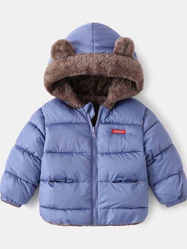 Toddler Boys' Down Coat Long Sleeve Blue Green White Plain Pocket Street Vacation Active Adorable 2-6 Years
