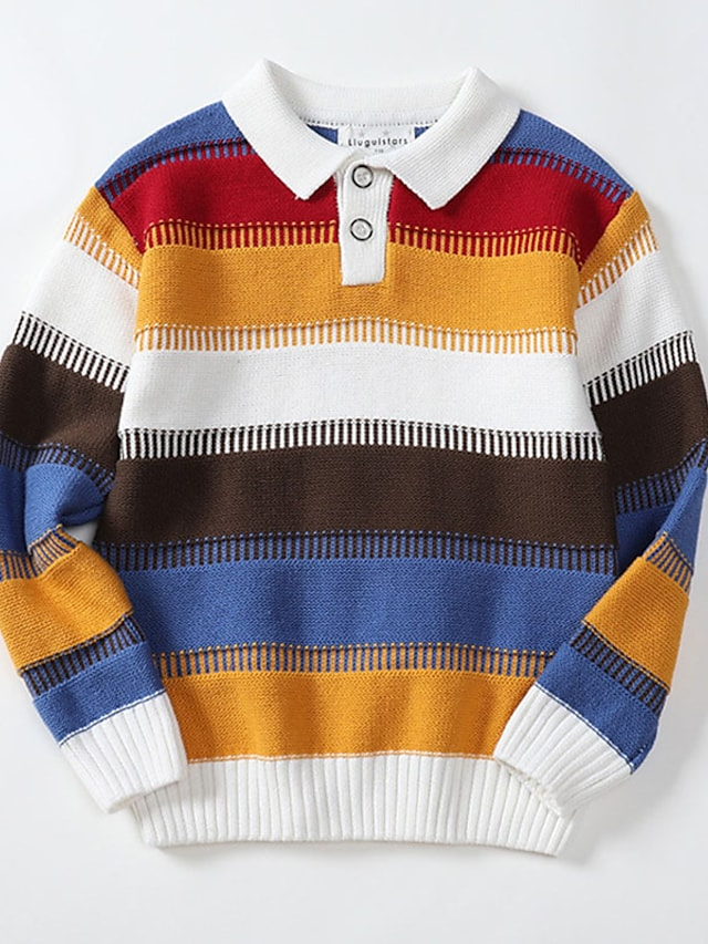 Kids Boys' Sweater Long Sleeve Yellow Stripe Patchwork Indoor Outdoor Cool Daily 2-8 Years