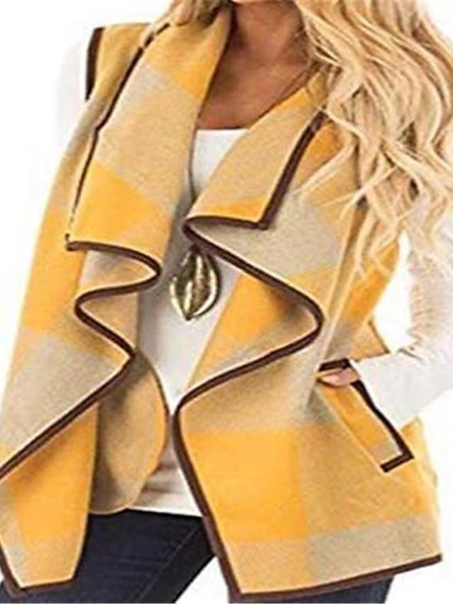 Women's Plus Size Vest Pocket Plaid Causal Vacation Sleeveless Open Front Regular Fall Winter Purple Yellow Wine L XL XXL 3XL