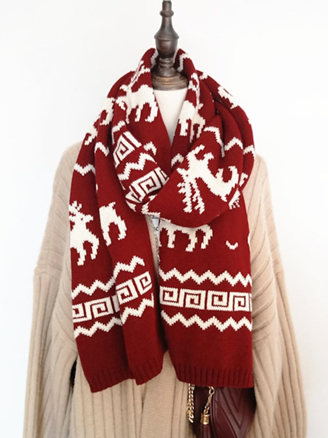 Women's Shawls & Wraps Christmas Wine Scarf Deer