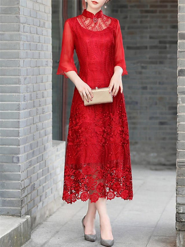 Sheath / Column Mother of the Bride Dress Elegant Vintage High Neck Ankle Length Lace Half Sleeve with Appliques 2021