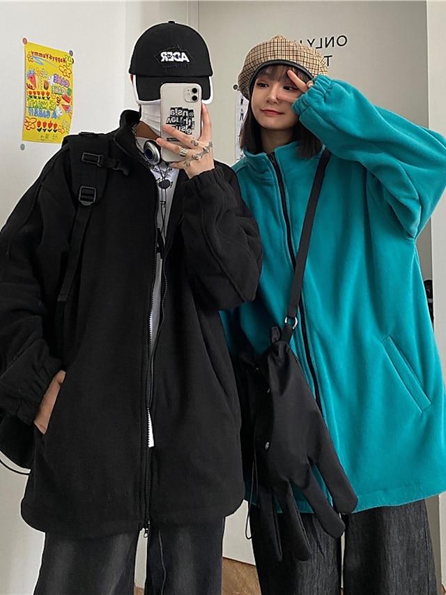 Men's Women's Jacket Teddy Coat Polar Fleece Going out Outdoor Fall Winter Regular Coat Regular Fit Windproof Warm Casual Streetwear Jacket Long Sleeve Solid Color Quilted Pocket Lake blue Black