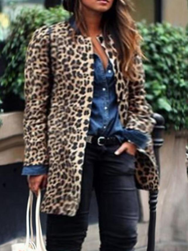Women's Plus Size Coat Print Graphic Causal Vacation Long Sleeve Round Neck Regular Fall Winter Brown L XL XXL 3XL 4XL