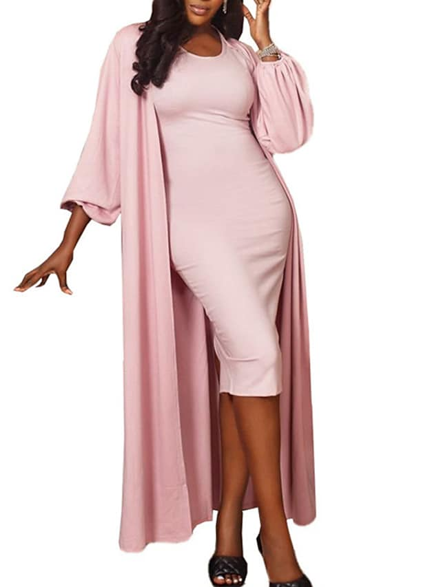 Women's A Line Dress Knee Length Dress Blushing Pink Long Sleeve Solid Color Ruched Fall Round Neck Elegant 2021 S M L XL XXL / Party Dress