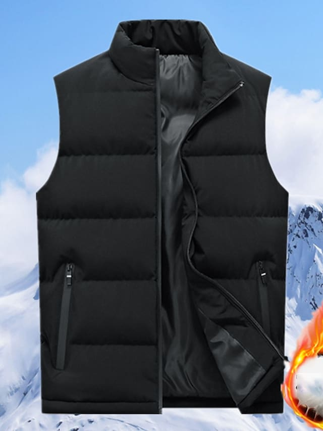 Men's Vest Gilet Street Daily Going out Fall Winter Regular Coat Regular Fit Windproof Warm Breathable Sporty Casual Streetwear Jacket Sleeveless Solid Color Full Zip Pocket Blue Black Red
