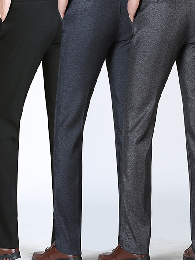 Men's Stylish Casual Soft Outdoor Business Business Daily Pants Solid Color Full Length Pocket Grey Light gray Black Dark Gray Navy Blue