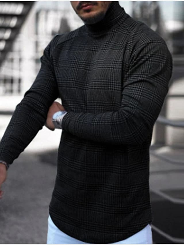 Men's T shirt Lattice Long Sleeve Casual Tops Lightweight Fashion Slim Fit Big and Tall Blue Yellow Gray