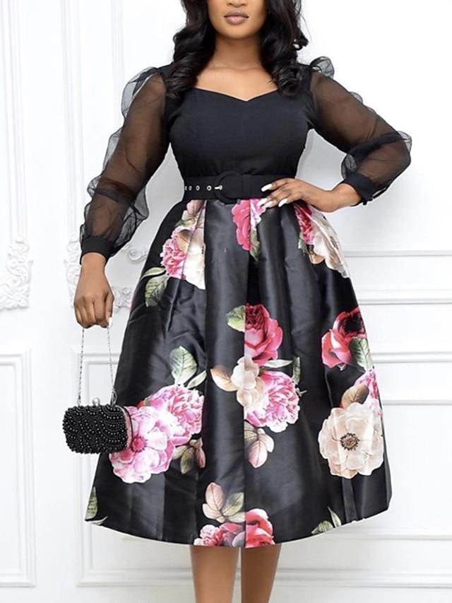 Women's A Line Dress Knee Length Dress Black Long Sleeve Floral Print Fall Summer V Neck Casual 2021 M L XL