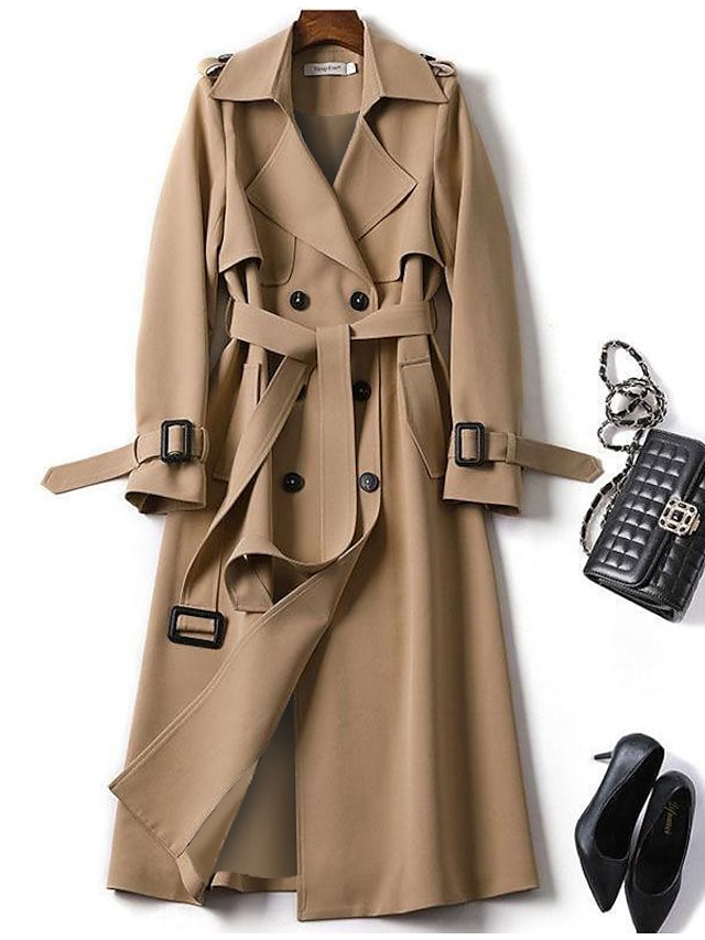 Women's Trench Coat Daily Fall Winter Long Coat Regular Fit Warm Fashion Classic Jacket Long Sleeve Plaid Lace up Blue Camel / Spring / Work / Patchwork