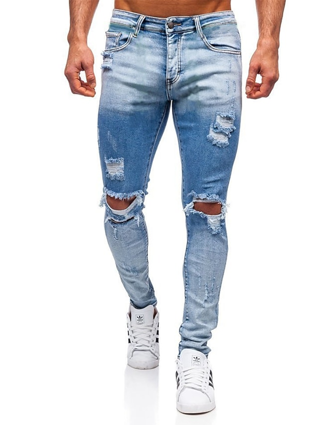 Men's Stylish Casual Streetwear Comfort Outdoor Pants Jeans Casual Daily Pants Gradient Full Length Pocket Hole Light Blue