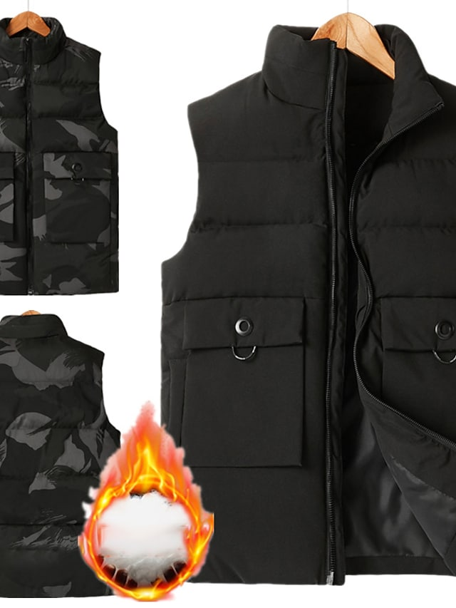 Men's Vest Gilet Street Daily Going out Fall Winter Regular Coat Regular Fit Windproof Warm Breathable Sporty Casual Streetwear Jacket Sleeveless Solid Color Full Zip Pocket Camouflage Black