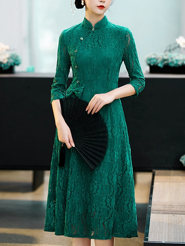 Sheath / Column Mother of the Bride Dress Elegant Vintage High Neck Knee Length Lace Half Sleeve with Bow(s) 2021