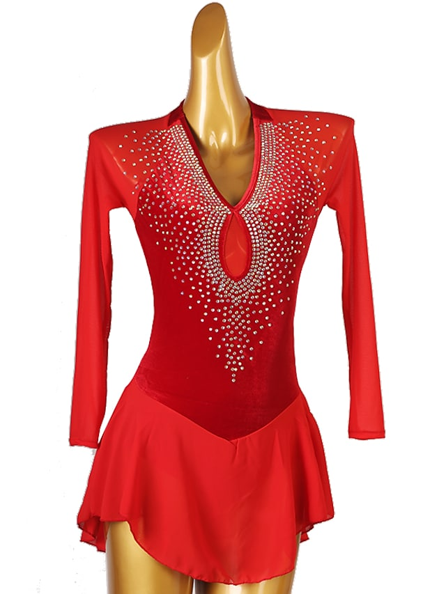 Figure Skating Dress Women's Girls' Ice Skating Dress Purple Red Open Back Patchwork Spandex High Elasticity Training Competition Skating Wear Classic Long Sleeve Ice Skating Figure Skating / Kids