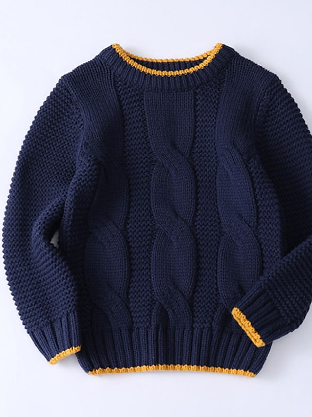 Kids Boys' Sweater Long Sleeve Brown Navy Blue Solid Color Ruched Indoor Outdoor Cool Daily 3-10 Years