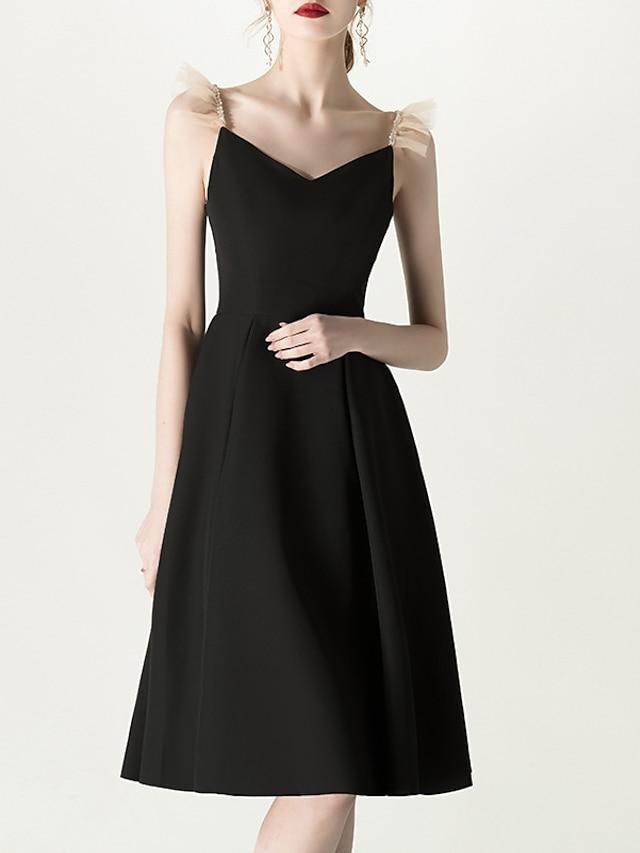 A-Line V Neck Knee Length Stretch Fabric Bridesmaid Dress with Ruffles