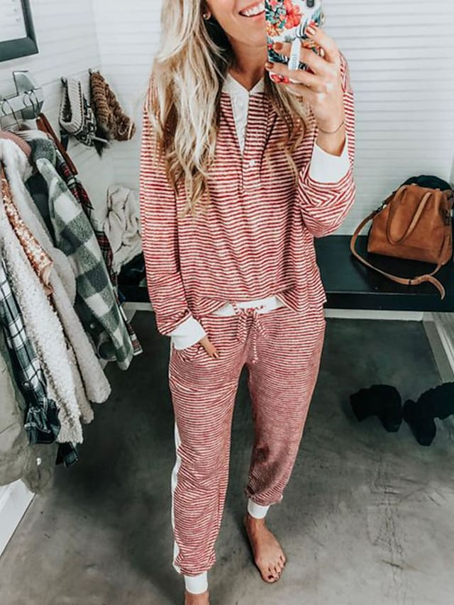 Women's Warm Breathable Loungewear Sets Home Street Daily Going out Elastic Waist Print Stripe Cotton Simple Fashion Sport Pant Fall Winter Crew Neck Long Sleeve Long Pant Not Specified Pocket