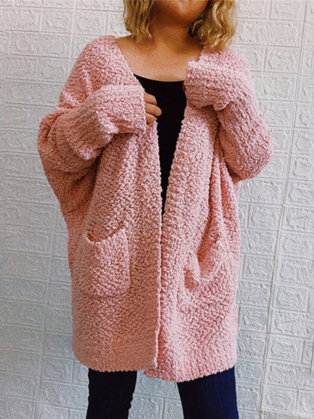 Women's Cardigan Sweater Knitted Front Pocket Solid Color Stylish Basic Casual Long Sleeve Sweater Cardigans Open Front Fall Winter Blushing Pink Gray Green