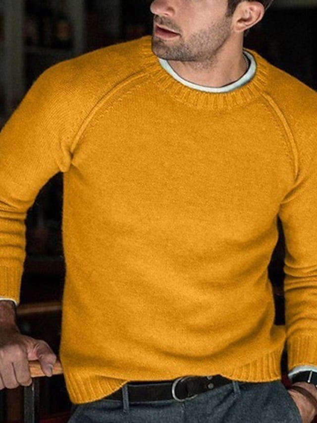 Men's Pullover Sweater Knitted Solid Color Stylish Long Sleeve Sweater Cardigans Crew Neck Fall Winter Yellow Blushing Pink Light Brown