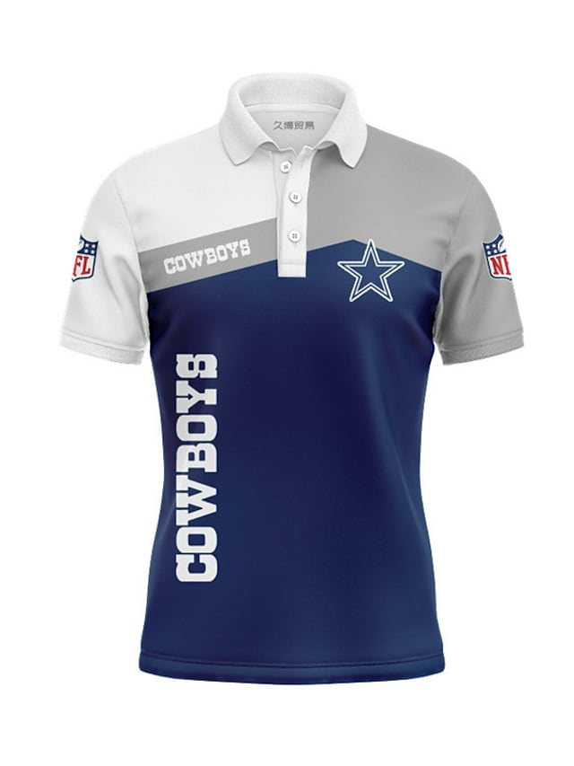 Men's Golf Shirt Star Letter Button-Down Print Short Sleeve Casual Tops Casual Fashion Cool Breathable Blue